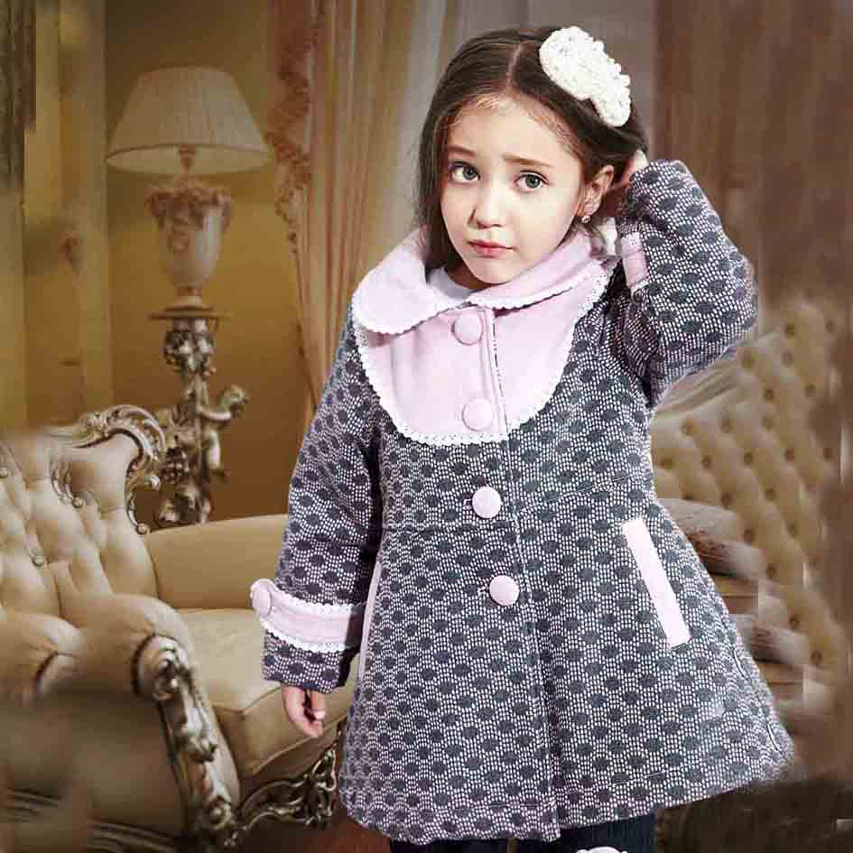 Trendy Personalized Kids Clothing Girls Polka Dot Winter Jacket