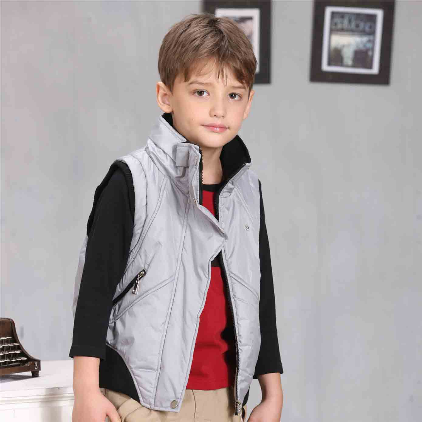 2017 Latest Boys Puffer Waistcoats Grey Color Children Vest