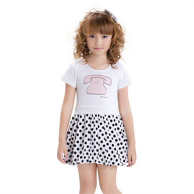 Eco Friendly 100% Cotton Children Clothing Girl Splice Dress