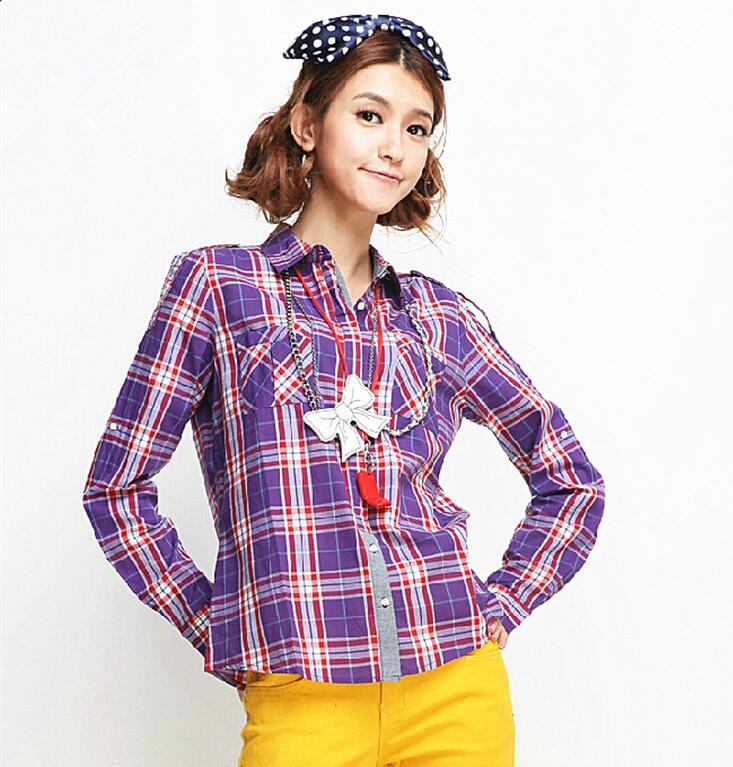 Lady Vintage Plaid Blouse