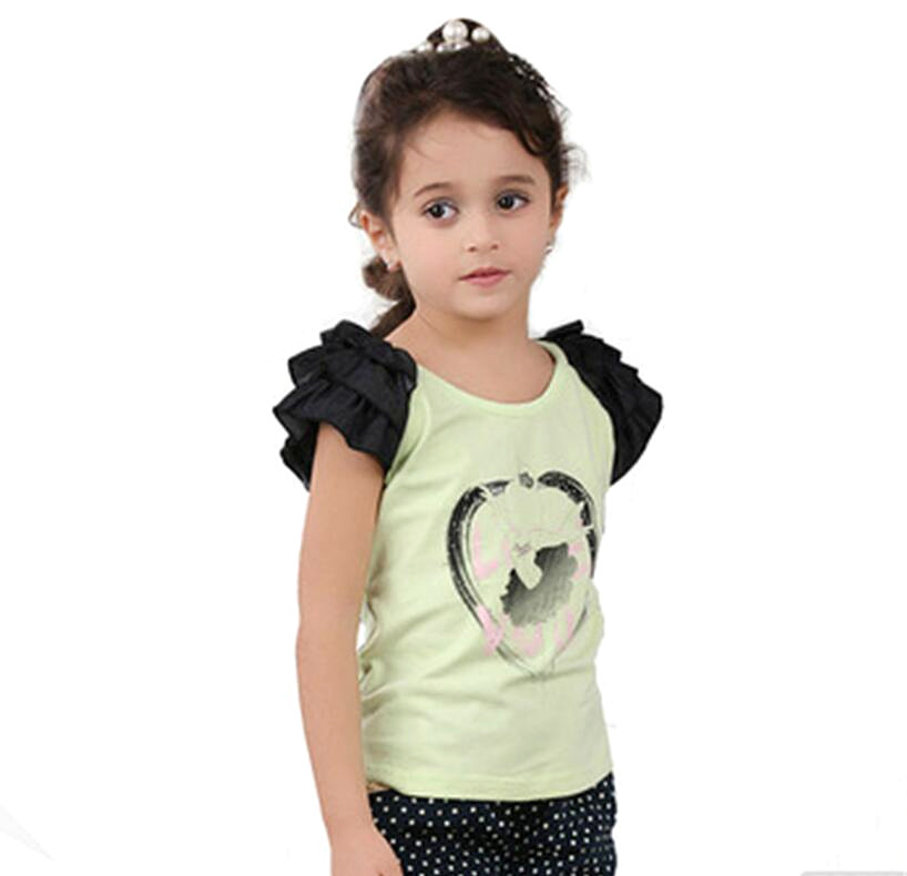 Green and Black Baby Girls Tee Shirt Childrens Fashion Clothing