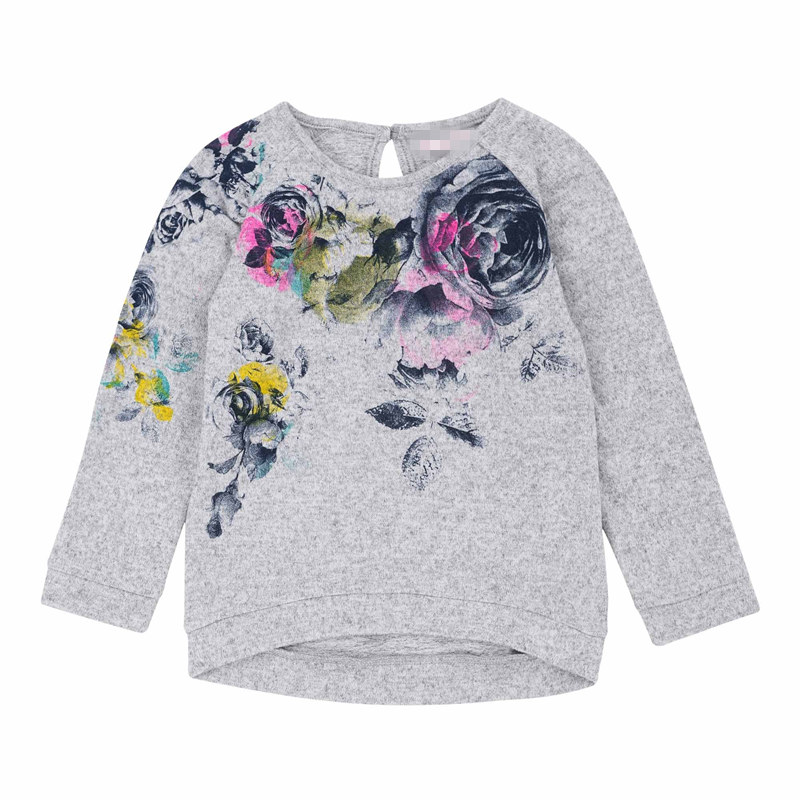 New Fashion Kids T Shirt Woolen Yarn Flowers Printed Grey Girls T-shirt