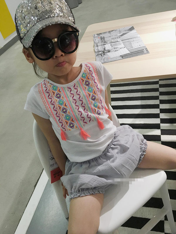 ethnic style t-shirt girl embroidery t-shirt custom clothing