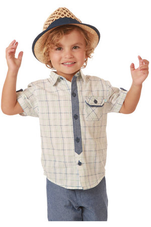 Children Boy's Checked Shirt Design Short Sleeve Cotton Shirt