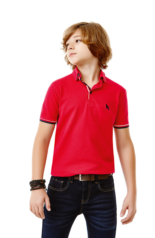 Stylish Kids Designer Clothes Fashion Boys Polo Shirt Red