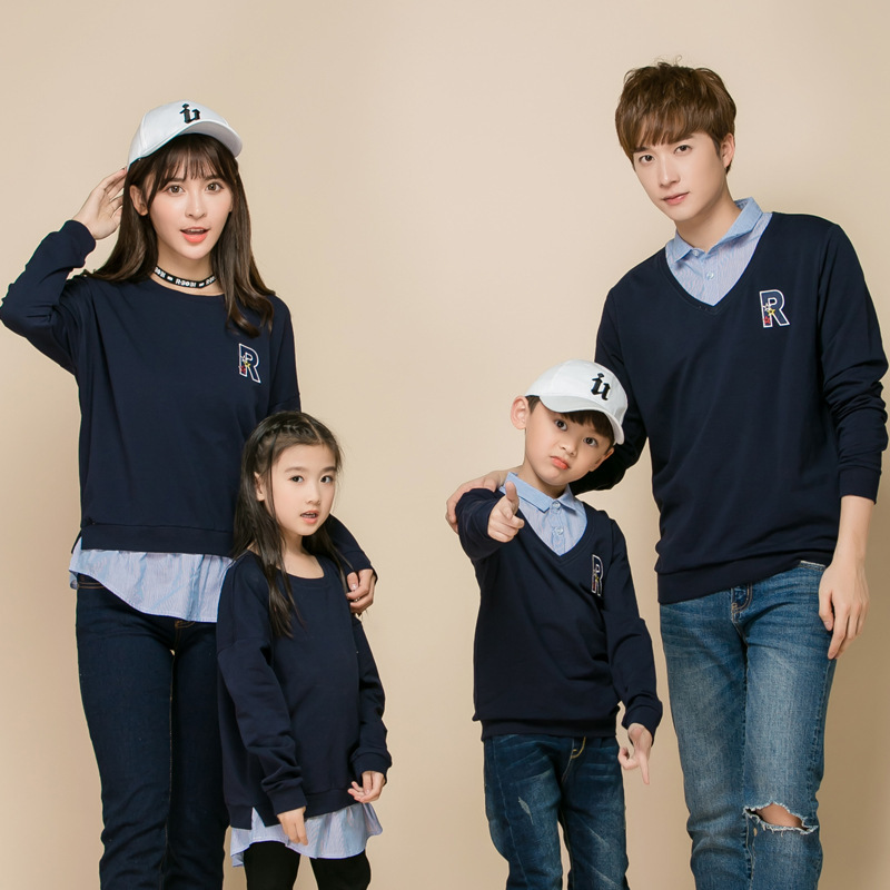 Family Matching Clothes Long Sleeves Polo Shirt Clothing Sets