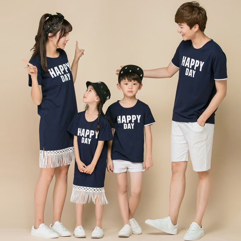 Family Matching Clothes Short Sleeves Printed T-shirt Clothing Sets
