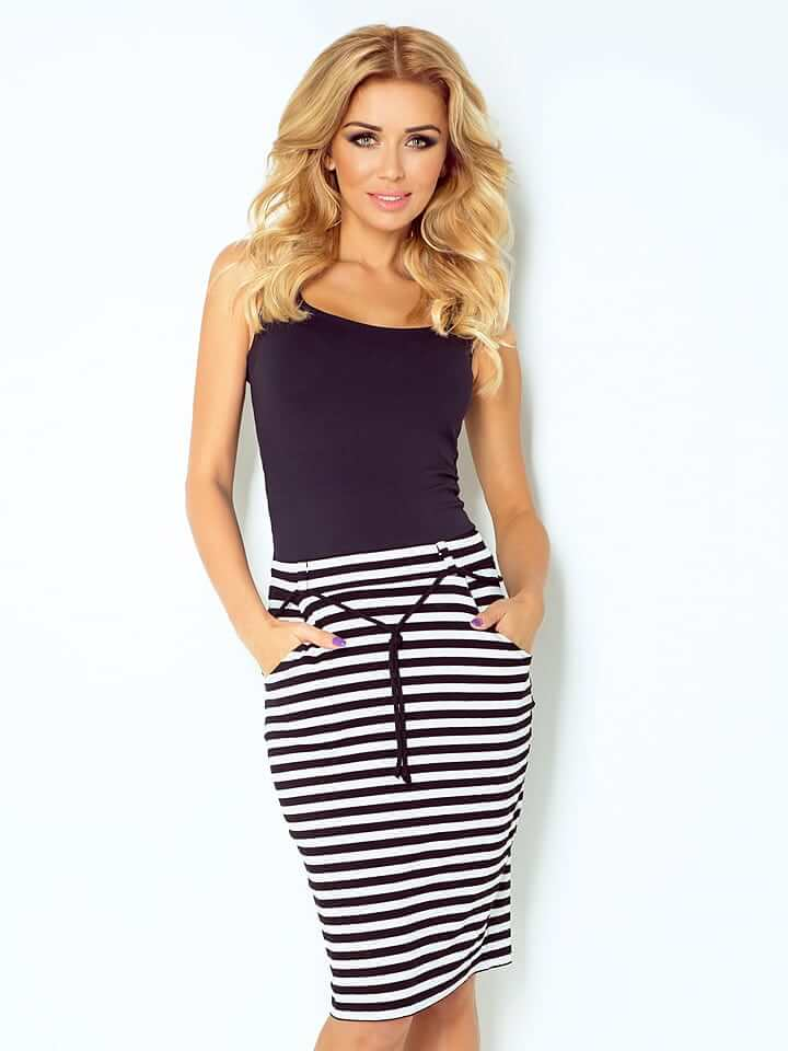 Latest Fashion Womens Trending Clothing Black and White Striped Skirt