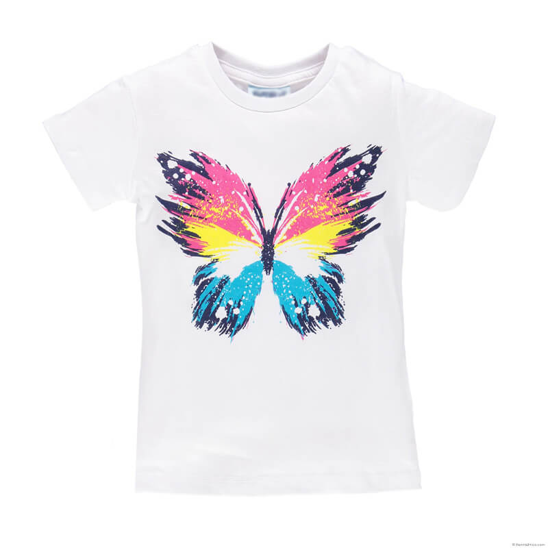 Custom Kids Tee Shirts New Fashion Tops for Girls White T Shirt
