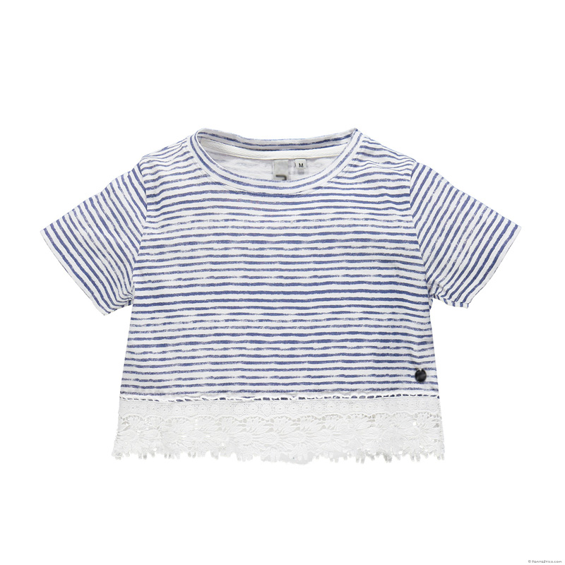 Europe US Navy Style Girls Striped Tee Shirt Loose Fashion Summer T Shirt