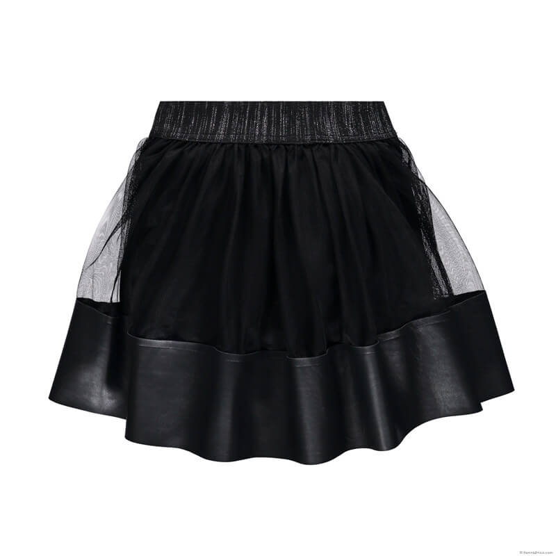 Girls Black Tulle Skirt with Eco-leather Designer Girls Clothes