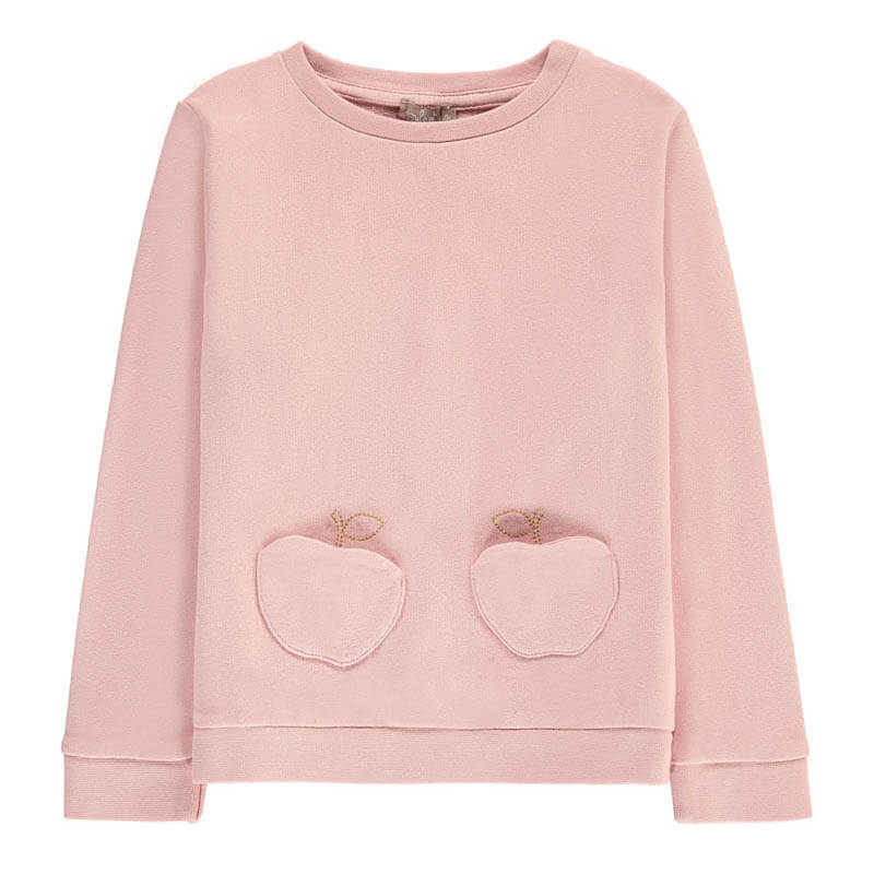 Children's Fashion Clothing Apple Sweatshirt with Pocket Powder Pink
