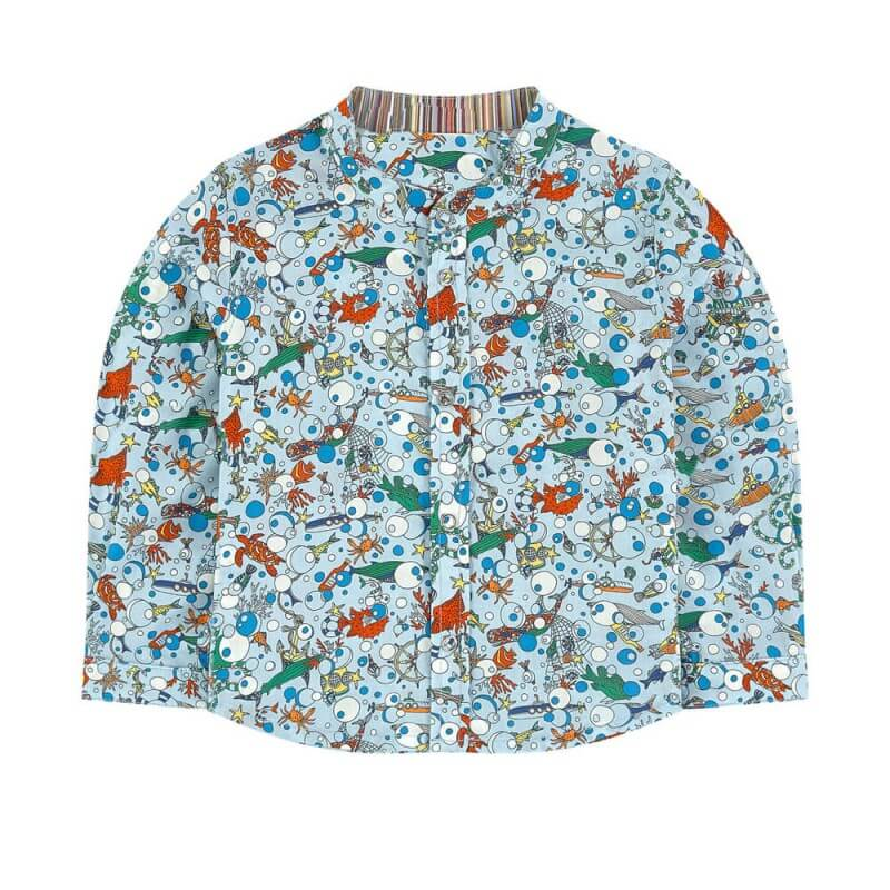 Sea Animals Printed Light Blue Boys Shirt Long Sleeve Wholesale