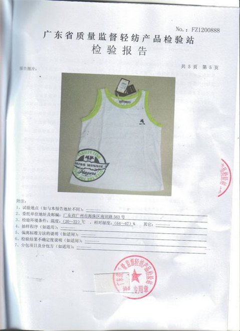 Guangzhou Gaoteng Garment Boy Clothing Set Test Report 7
