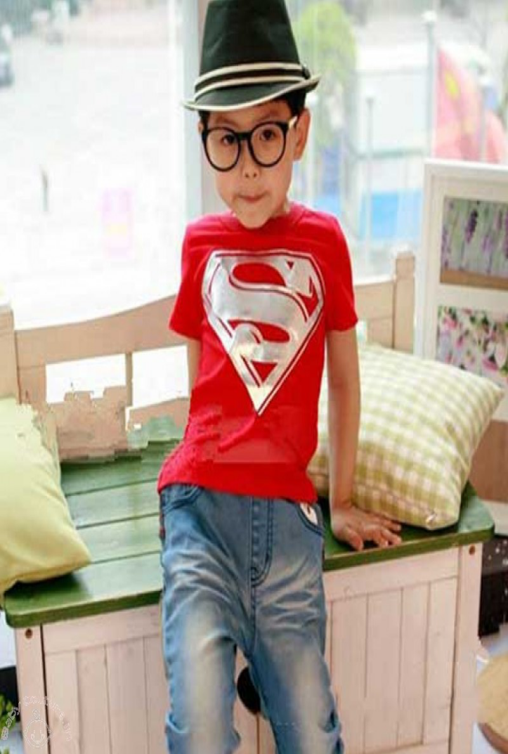 kids clothes Red Silver Superman T-shirt
