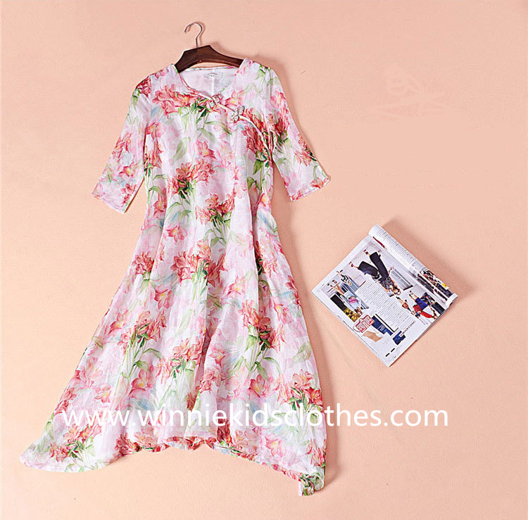 chinoiserie mother and daughter clothes retro dress