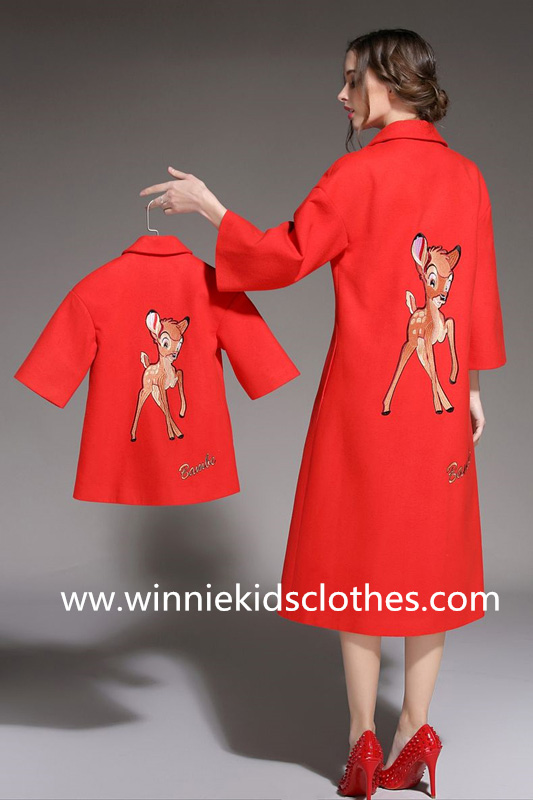 long red mother and daughter woolen coat