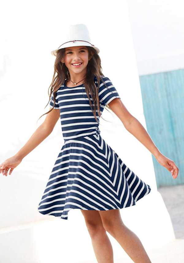 custom girls dresses skater dress with short sleeves