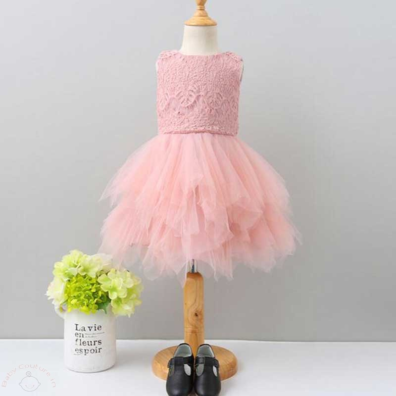 mesh blush pink stylish tutu frock