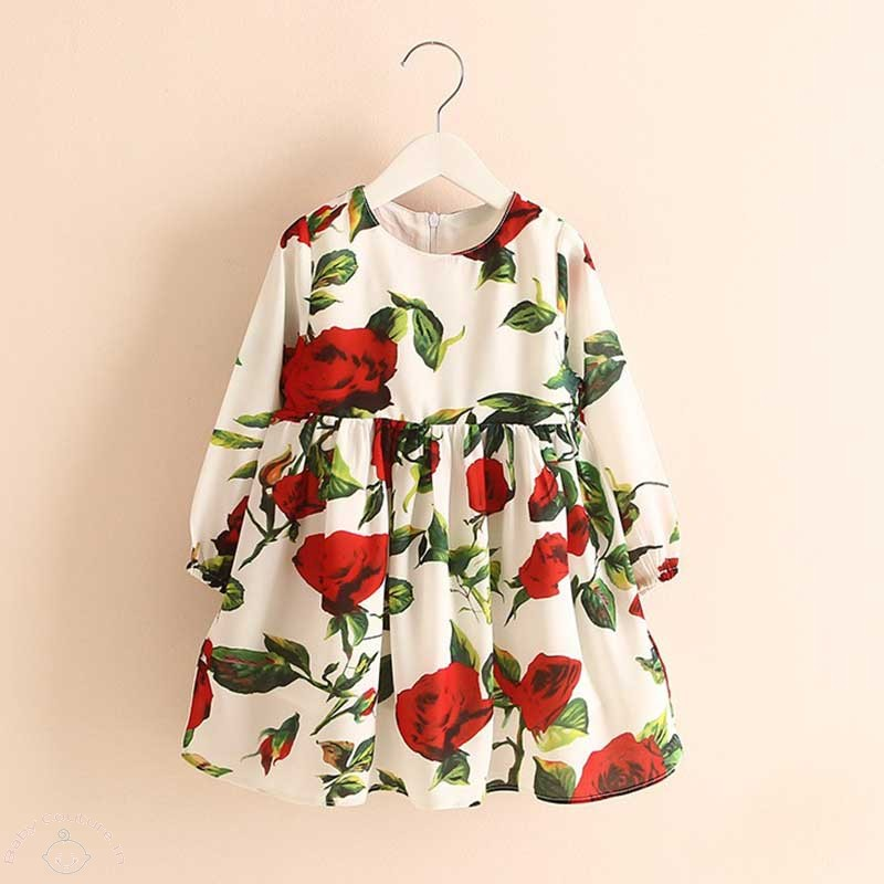 summer red roses kids dress