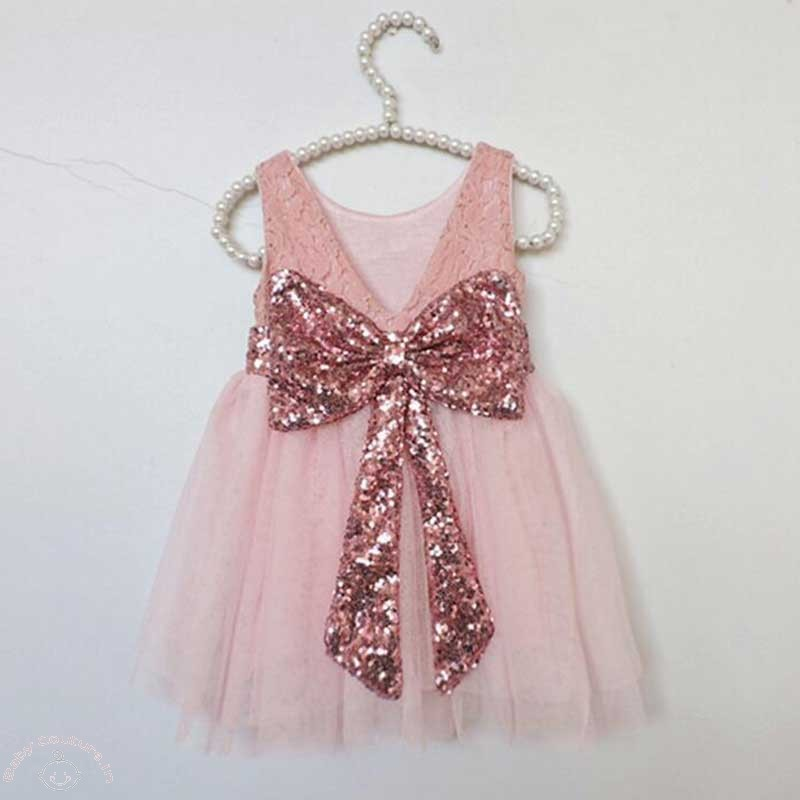 pink sequin bow back lovely party dress