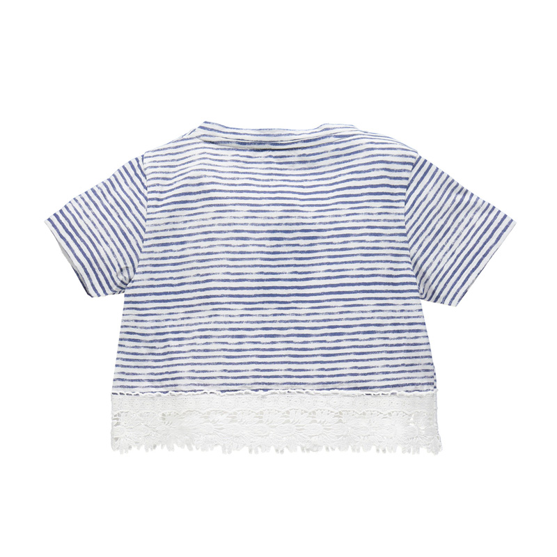 Europe US Navy Style Girls Striped Tee Shirt Loose Fashion Summer T Shirt Back