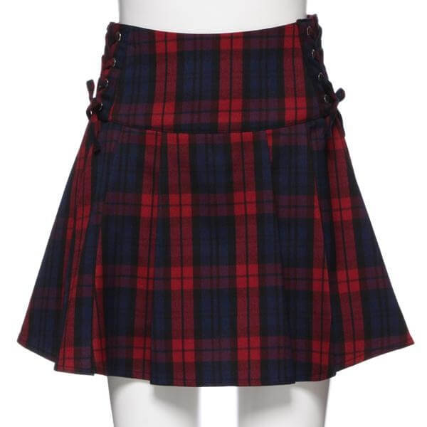 Lace-up Tuck Flare Tartan Skirt High Waisted Scottish Red Plaids Skirt