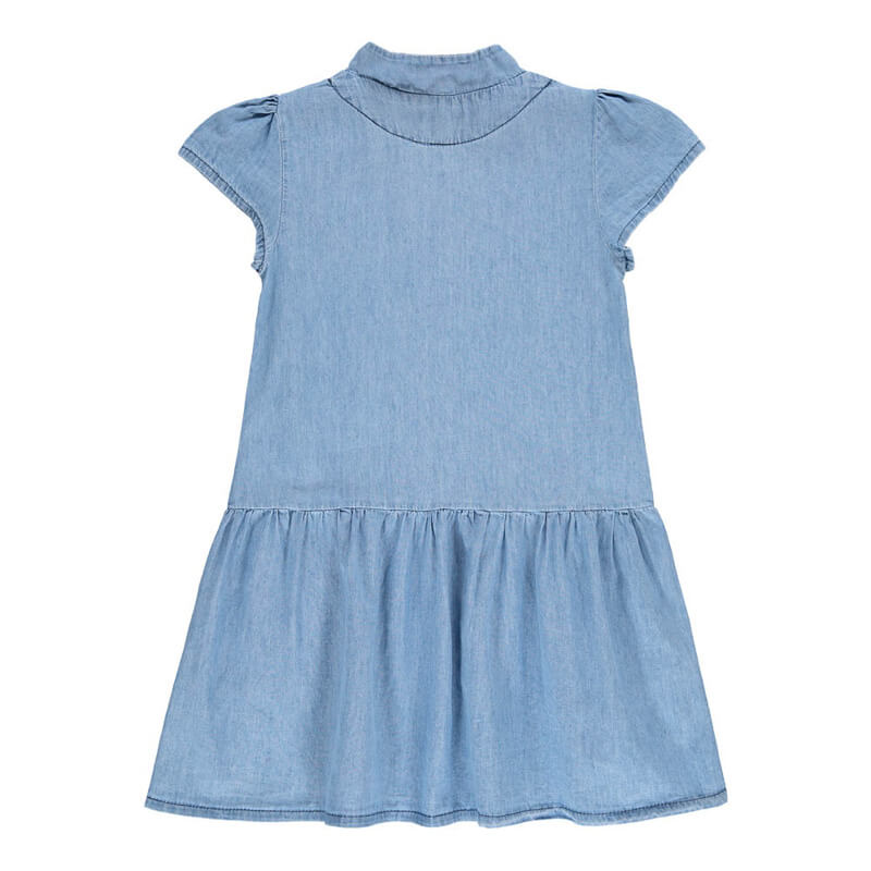 Baby Girls Button Front Chambray Denim Dress Designer Kids Clothes Sale Back