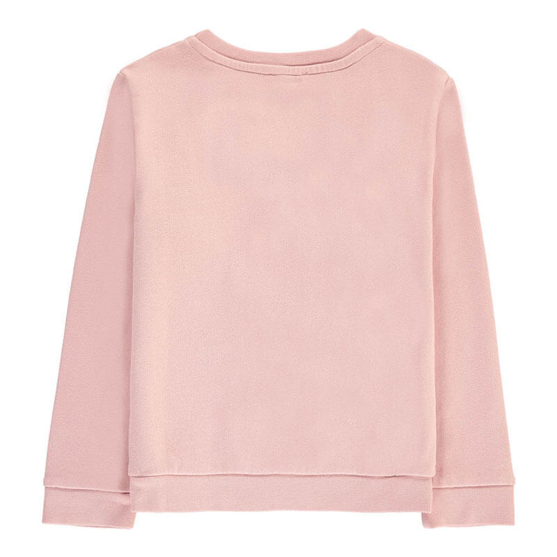 Childrens Fashion Clothing Apple Sweatshirt with Pocket Powder Pink Back