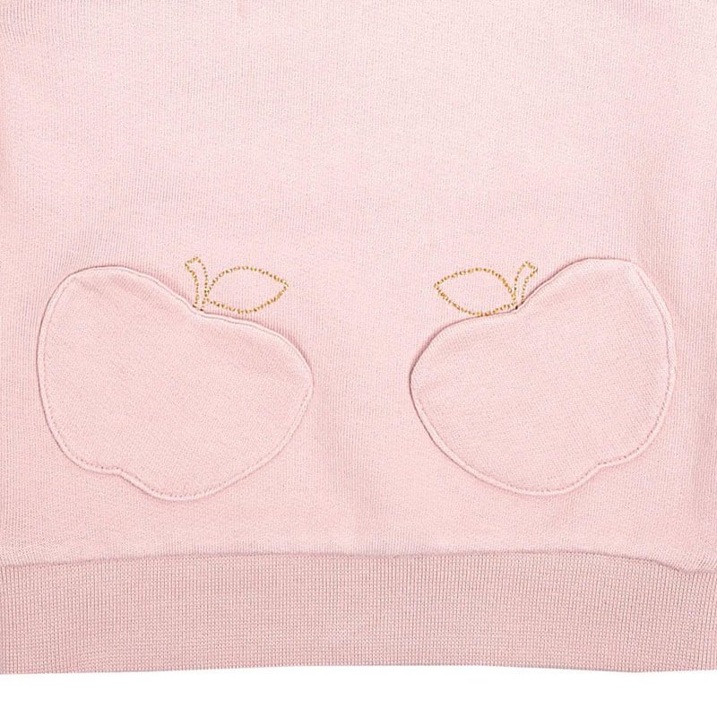 Childrens Fashion Clothing Apple Sweatshirt with Pocket Powder Pink details