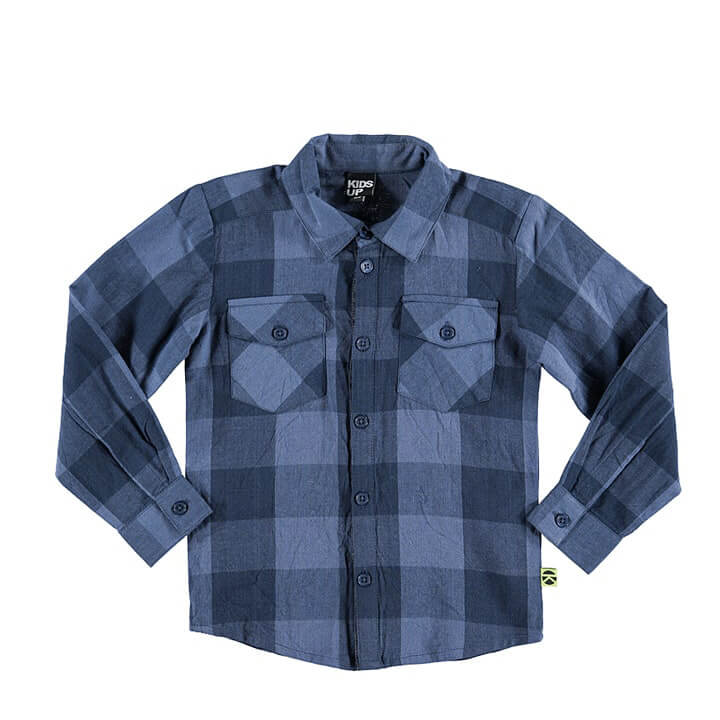 plaid shirt for baby boys blue/dark blue