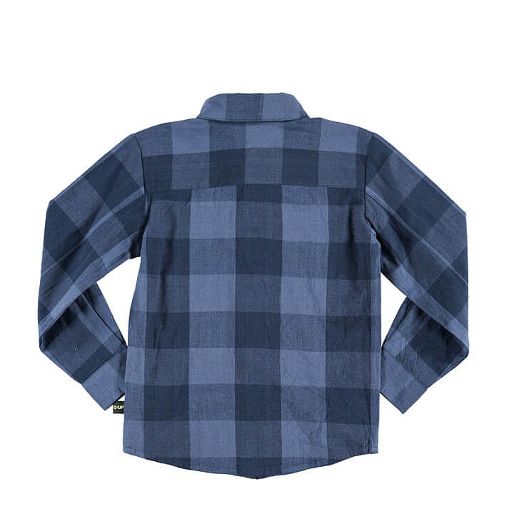 plaid shirt for baby boys dark blue/blue back
