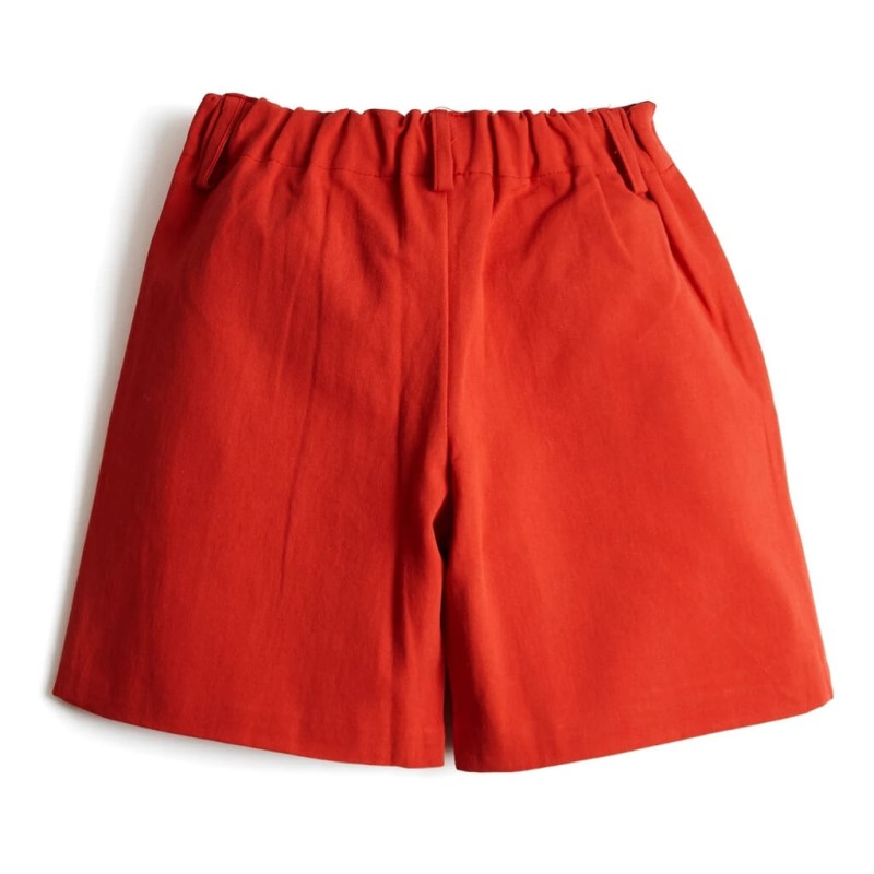 Toddler Boys Flat Front Shorts Red Wholesale the back side
