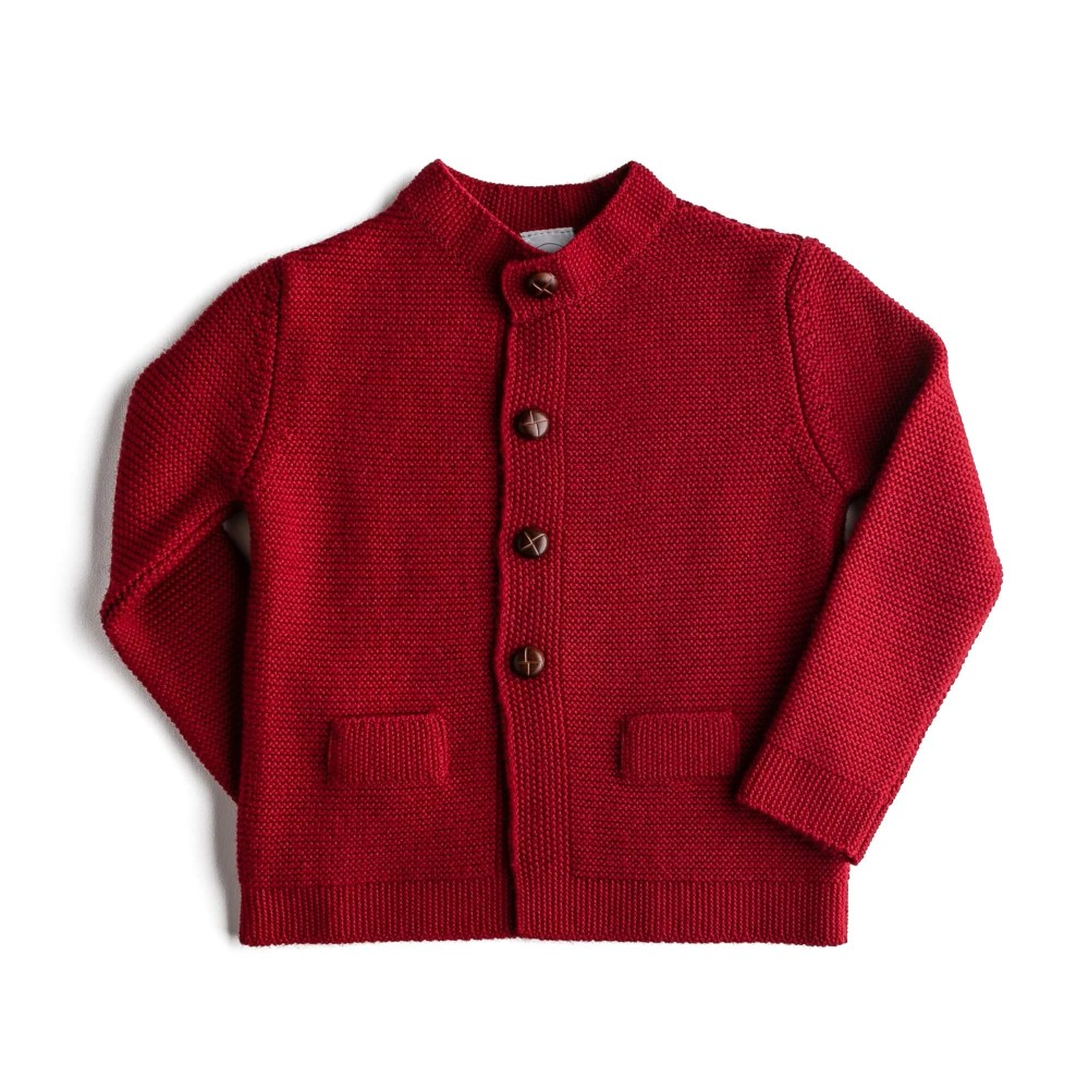 boys knitted tops red front side
