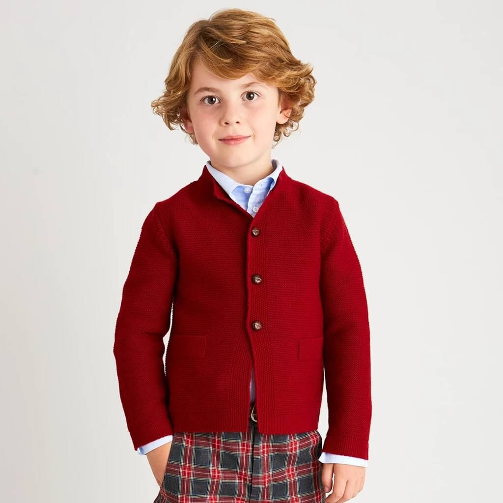 little boys knitted tops red